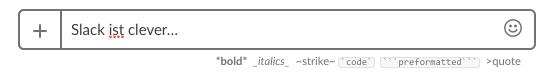 Slack App Text formatieren